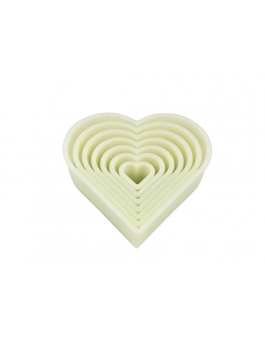BOX OF 7 PLAIN HEART-SHAPED CUTTERS - POLYGLASS