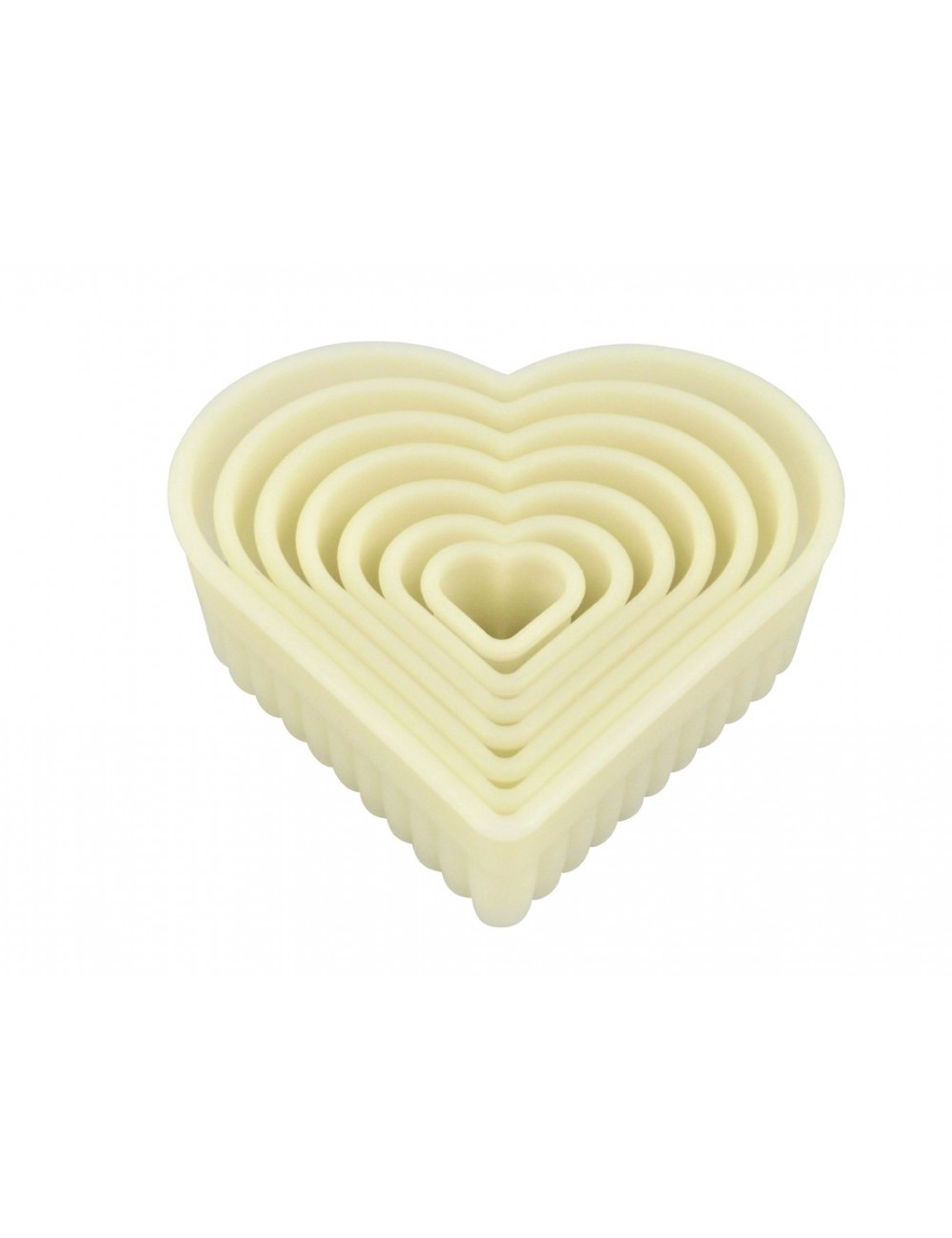 BOX OF 7 FLUTED HEART-SHAPED CUTTERS - POLYGLASS