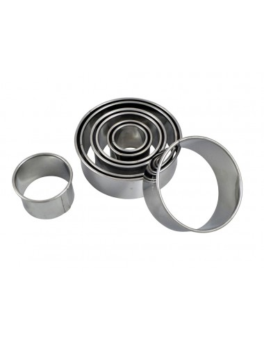 BOX OF 8 PLAIN ROUND CUTTERS - STAINLESS STEEL