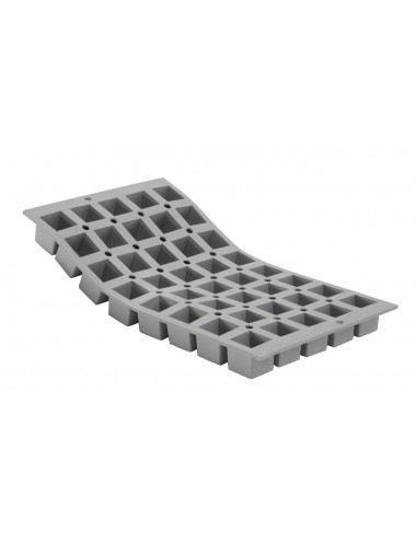 PLAQUE 1/3 ELASTOMOULE - 40 MINI-CUBES