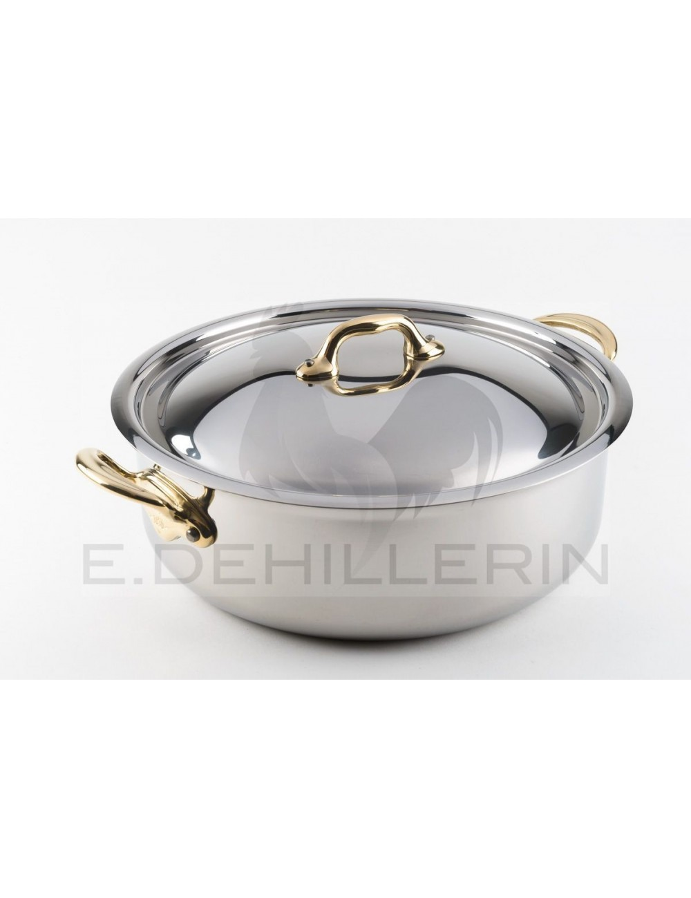 Plat a sauter induc 39 inox poignees avec couvercle for Plat cuisson inox